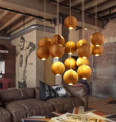wooden orb Modern Contemporary Chandelier. Cluster Ceiling Light