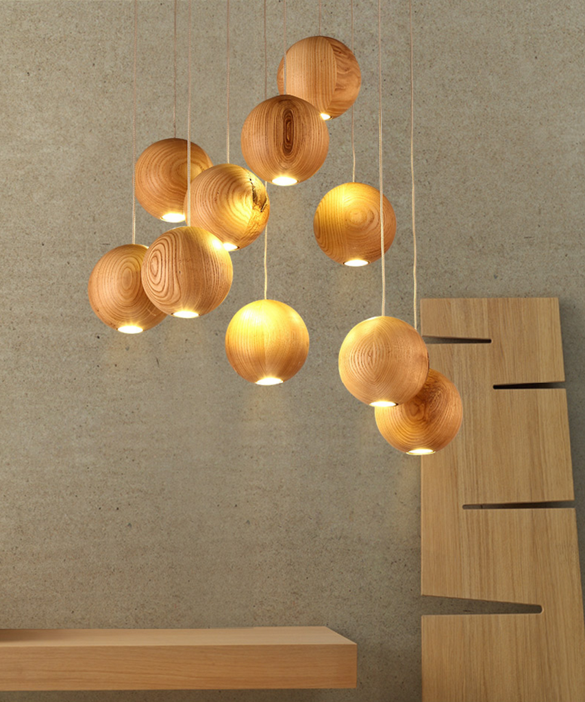 Wooden orb sphere cluster chandelier with led bulbs tudo and co wooden orb modern contemporary chandelier cluster ceiling light arubaitofo Image collections