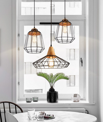 Sangkar Metal Cage Pendant Light With Wood Base model B dining room
