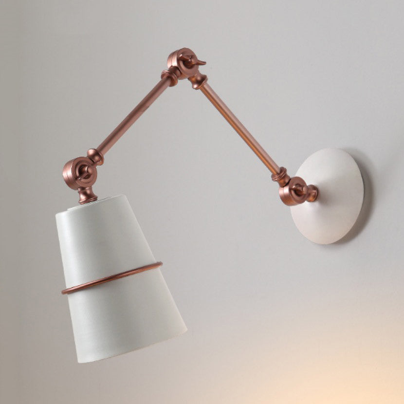 white and rose gold copper wall light
