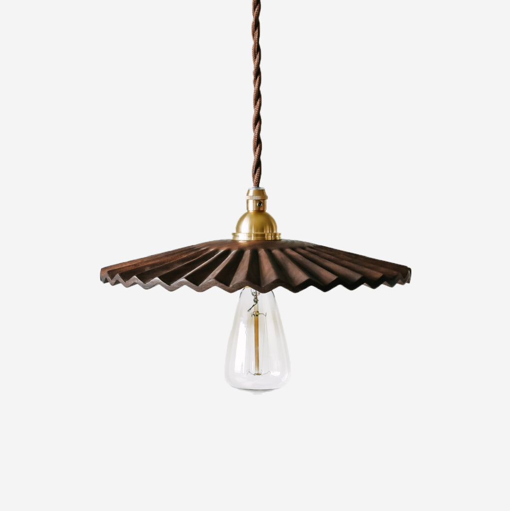 Caffeine Hand Crafted Wood Shade Pendant Light