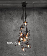 Bismuth Cube Cluster Pendant Light Chandelier - measurements