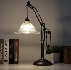 Pulley Industrial Table Light With Glass Lamp Shade