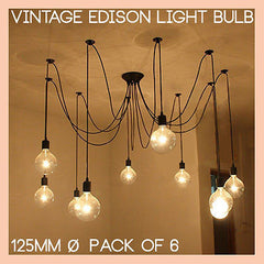 G125 LED filament Edison Bulb. 6 Watt Large Round Dome