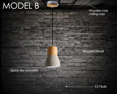 Concrete Wooden Stockholm Minimalist Pendant Light - Model B measurements