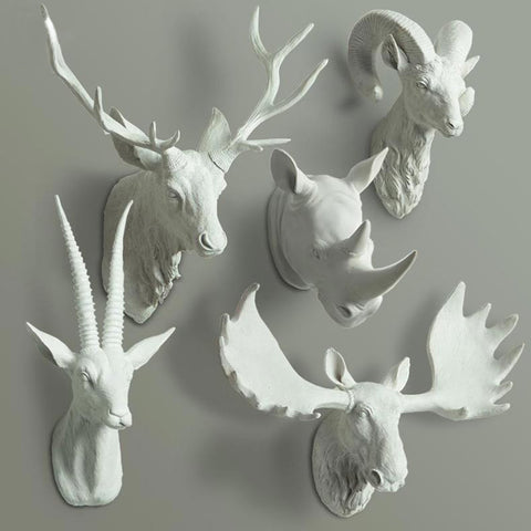 Animal Head Bust Wall Decor - Deer, Buck, Rhino, Antelope Bust, Moose