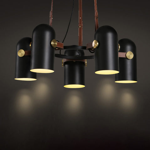 Black Spotlight Minimalist 5 Head Chandelier