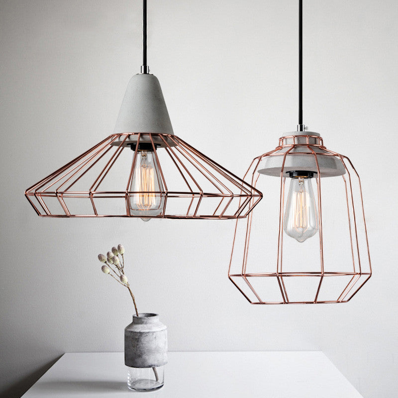 Industrial Caged Pendant With Rivets: Sangkar Rose Gold Cage Pendant Light With Concrete Base