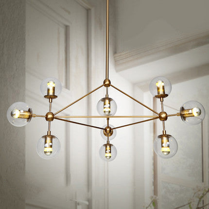 Brushed brass cluster bulb chandelier