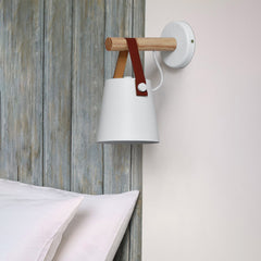 Nora Leather strap wooden scandi wall Light