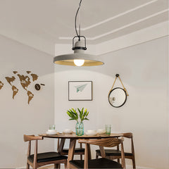 Vardo Concrete Plate Light With Black Metal Band dining room