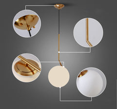 Trendl Frosted Dome Brushed Brass L pendant light details