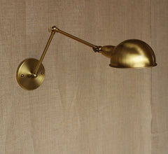 Brass Single Head Shade Industrial Wall Light