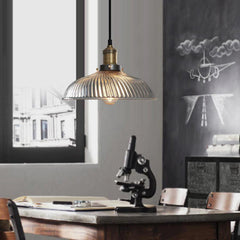 Fluted glass pendant light