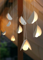 White glider pendant light chandelier studio image 3