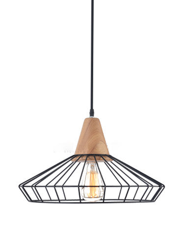 Sangkar metal cage pendant light with wood base scandinavian sangkar metal cage pendant light with wood base scandinavian styling ceiling light mozeypictures Choice Image