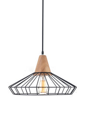 Sangkar Metal Cage Pendant Light With Wood Base model A