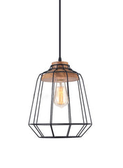 Sangkar Metal Cage Pendant Light With Wood Base. Scandinavian Styling Ceiling Light