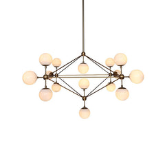 Brushed brass cluster bulb chandelier frosted glass