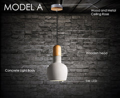 Concrete Wooden Stockholm Minimalist Pendant Light - Model A measurements