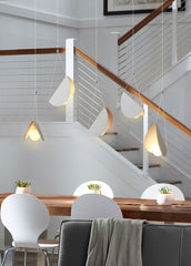 White glider pendant light chandelier dining table setting