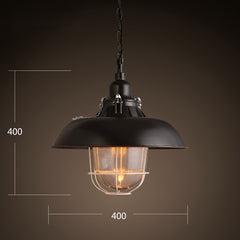Helmut Glass Shade Industrial Pendant Light (short)