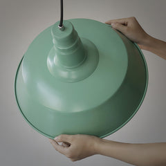 Retro Industrial Pendant Light in green details