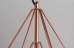 Copper Diamond Wire Cage Pendant Light - details