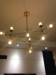 Brushed brass cluster bulb chandelier real photo