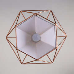 Copper Diamond Wire Cage Pendant Light - bottom view