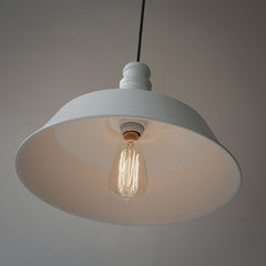 Retro Industrial Pendant Light in white from below