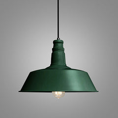 Retro Industrial Pendant Light in forest green