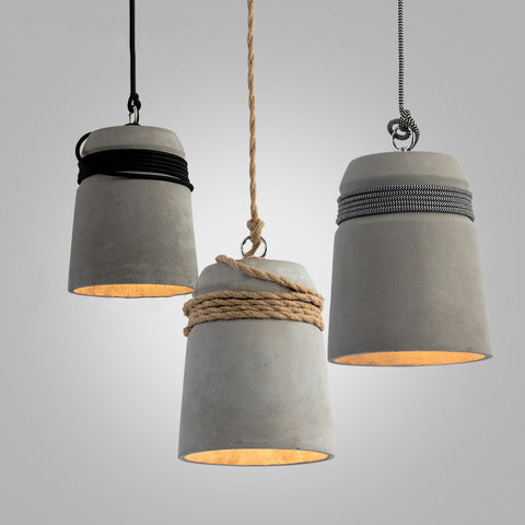 Concrete Cord wrapped Monolith Minimalist Pendant Light & Designer and Industrial loft Lights - affordable lighting online store