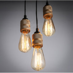 Hooked Industrial Retro Brass 6 Bare Edison Bulb Chandelier