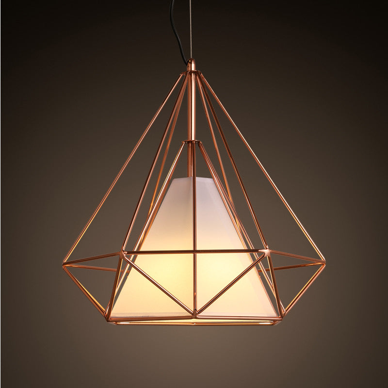 Copper diamond wire cage pendant light tudo co tudo and co for Modern chandeliers ikea