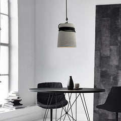 Concrete Cord wrapped Monolith Minimalist Pendant Light