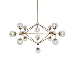 Brushed brass art deco cluster bulb chandelier clear glass