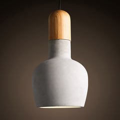 Concrete Wooden Stockholm Minimalist Pendant Light - Model A