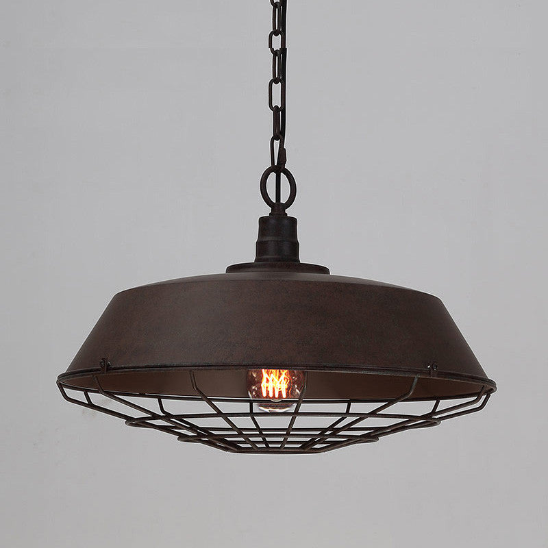 Rustic Industrial Cage Pendant Light