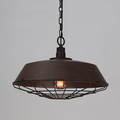 Rustic Vintage Industrial Pendant Light With Cage Covering