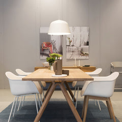 Ambit pendant light in dining room in white