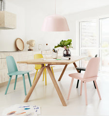 Ambit pendant light in dining room in pink