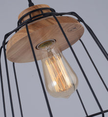 Sangkar Metal Cage Pendant Light With Wood Base model B details