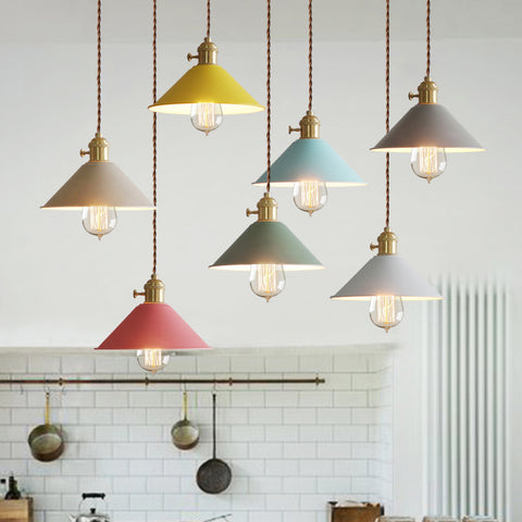 Pastel Coloured Cone Shade Industrial Loft Pendant Light