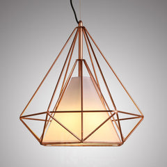 Copper Diamond Wire Cage Pendant Light
