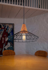 Sangkar Metal Cage Pendant Light With Wood Base model B