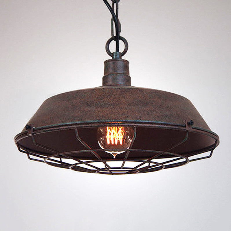 Rustic Industrial Cage Pendant Light Tudo and Co Tudo And Co