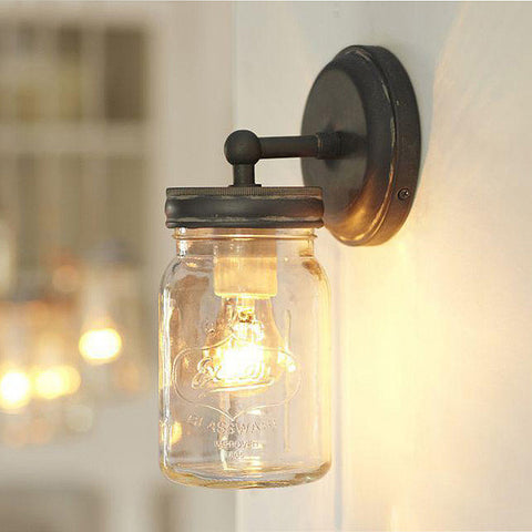 Vintage Mason Jar Wall Sconce Light
