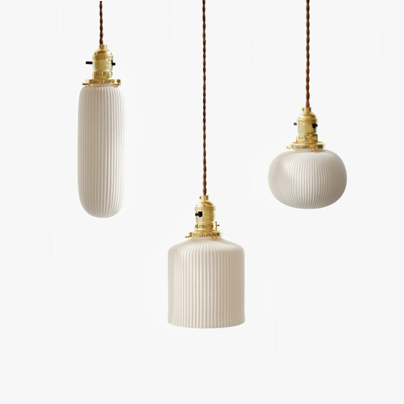 art deco ceramic pendant light trio
