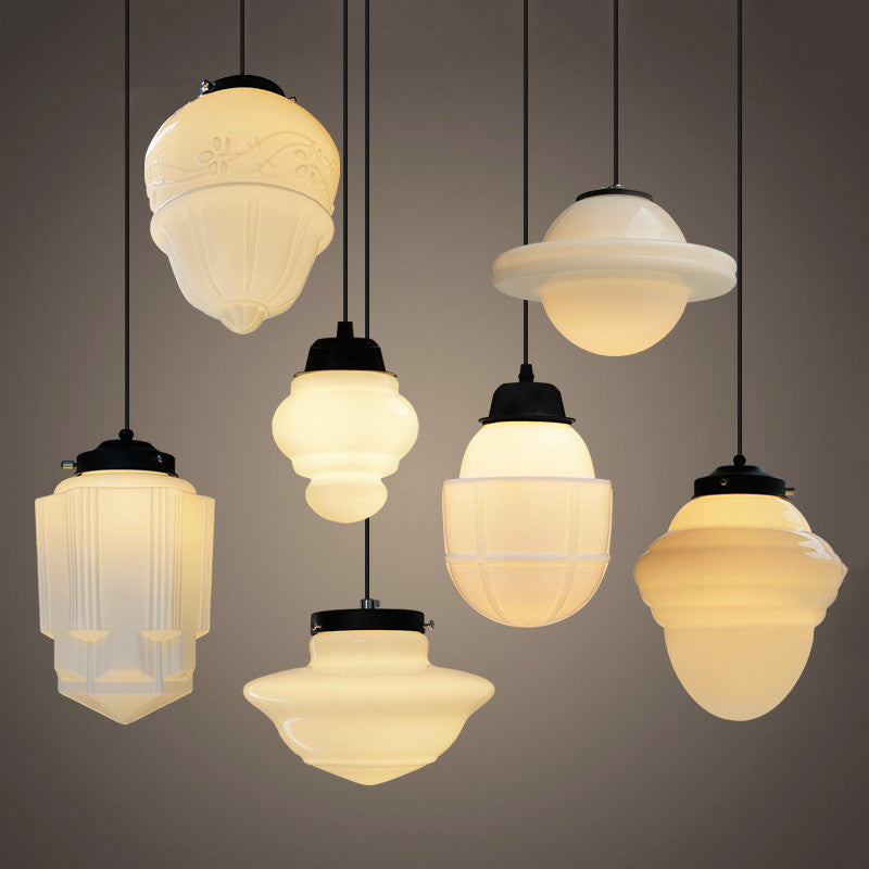 Art deco glass pendant light tudo and co tudo and co art deco milk glass pendant light aloadofball Images